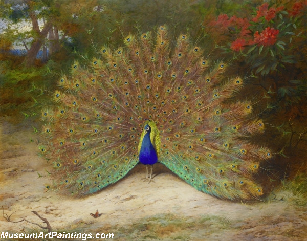 Famous-Peacock-Paintings-Peacock-and-Peacock-Butterfly-8633-79158